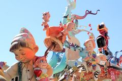 Cijfers van het papier-maché de populaire fest van Valencia van Fallas Royalty-vrije Stock Fotografie