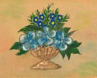 Cijfervazen met blauwe bloemen Royalty-vrije Stock Afbeeldingen
