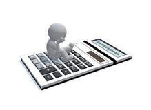 Cijferzitting en het denken op calculator Stock Afbeelding