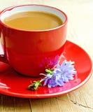 Cikoriadrink i röd kopp med blomman på tefatet Arkivfoto