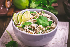 Cilantro lime basmati rice. Bowl of cilantro lime basmati rice stock photo