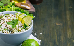 Cilantro lime basmati rice from left side Stock Photography