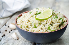 Cilantro lime garlic brown rice. The toning. selective focus stock photos
