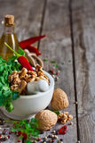 Cilantro and walnuts in a mortar Royalty Free Stock Image