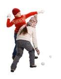 Cildren, das im Schnee spielt Lizenzfreie Stockfotografie