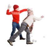 Cildren jouant dans la neige Photographie stock