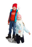 Cildren playing in the snow Royalty Free Stock Photo