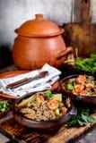 Cileno Ajiaco Alimento dell'America latina Ajiaco - minestra cilena tradizionale con carne arrostita, la cipolla e la patata serv Fotografia Stock Libera da Diritti