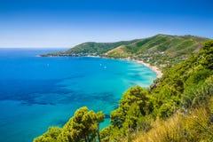 Cilentan海岸,萨莱诺省,褶皱藻属,意大利 免版税库存图片