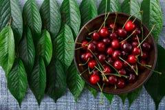 Ciliege fresche dolci con le foglie verdi su legno rustico blu Fotografia Stock