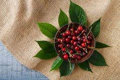 Ciliege fresche dolci con le foglie verdi sul panno di sacco Fotografia Stock