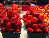 Ciliege fresche splendide e fragole in Columbia Britannica Fotografia Stock