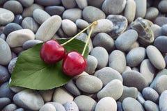 Ciliege rosse organiche fresche su una foglia verde su fondo di pietra o Immagini Stock
