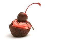 Ciliegia del morso del brownie Fotografie Stock Libere da Diritti
