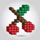 Ciliegia del pixel dell'illustrazione Immagine Stock Libera da Diritti