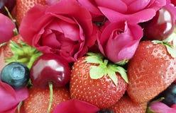 ciliegia della fragola, fondo rosa del fiore del rinfresco del dessert di freschezza del mirtillo Fotografia Stock