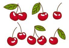 Ciliegia della frutta di bacche con le foglie Stile piano, illustrazione di vettore Fotografia Stock Libera da Diritti