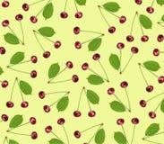 Ciliegia fresca dolce del modello senza cuciture con la foglia verde isolata su giallo Immagini Stock