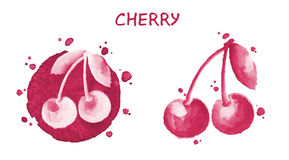 Ciliegia Illustrazione dell'acquerello Insieme della frutta Illustrazione originale dipinta a mano Immagini Stock Libere da Diritti