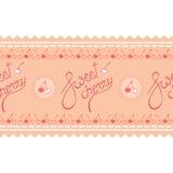 Ciliegia, logo rosa dell'iscrizione sulla striscia senza cuciture della struttura della ciliegia Immagini Stock Libere da Diritti