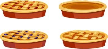 Ciliegia, mirtillo, zucca, intere torte di Apple Fotografia Stock Libera da Diritti