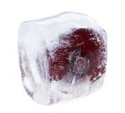 Ciliegia rossa all'interno del cubo di ghiaccio di fusione Fotografie Stock