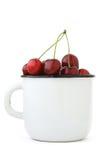 Ciliegia rossa matura in una tazza dello smalto Fotografie Stock