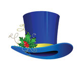 Cilinder-hat. Cylinder for a magician with a sprig of mistletoe for Christmas Royalty Free Stock Photo