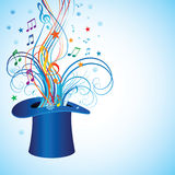 Cilinder-hat. Cylinder for a magician with a sprig of mistletoe for Christmas Royalty Free Stock Image