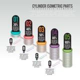 Cilinderdelen Infographic royalty-vrije illustratie