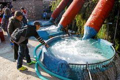 cilindri di Acqua lavaggio al villaggio Kefalovryso nella contea di Elassona immagine stock libera da diritti