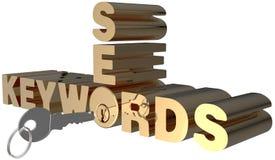 Cerradura de las palabras claves de búsqueda de las palabras claves SEO Fotografía de archivo libre de regalías
