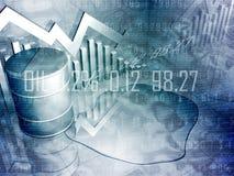 Cilindro de petróleo e gráfico do estoque Foto de Stock