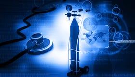 Cilindro di ossigeno con lo stetoscopio Fotografie Stock