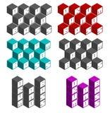 Cilindro e fontes quadradas cúbicas baixas em cores diferentes Fotografia de Stock