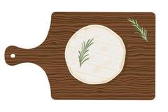 Cilindro fresco do queijo de Normandie do camembert com alecrins em uma placa de corte de madeira, vista superior Ilustração do v ilustração stock