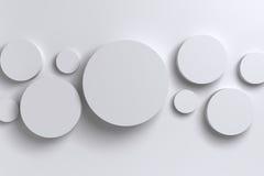 Cilindro geométrico polígono brilhante abstrato do branco 3D do baixo Fotos de Stock