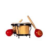 Cilindros & maracas dos bongos Imagens de Stock