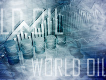 Cilindros de petróleo com texto do petróleo do mundo Imagens de Stock