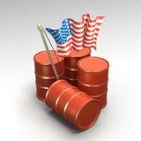 Cilindros de petróleo e bandeira americana Imagens de Stock Royalty Free
