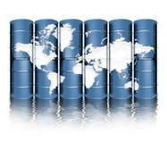 Cilindros e mapa de petróleo Fotos de Stock