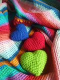 Cilourful happy hearts. Green red and blur heart on  stripe shawl freshen the merry day Royalty Free Stock Image
