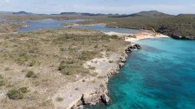 Cima aerea del fuco di mar dei Caraibi dell'isola del Bonaire della costa della spiaggia del mare Fotografie Stock