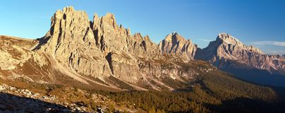 Cima Ambrizzola, Croda da Lago and Le Tofane Gruppe Royalty Free Stock Photography