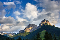 Cima 11 and Cima 12 mounts at sunset, Fassa Valley, Dolomites, Italy Royalty Free Stock Photography