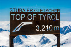 Cima del ghiacciaio Austria del Tirolo Stubai Fotografia Stock Libera da Diritti