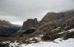 Cima del Lago, Torre del Lago and Cima Scotoni in clouds Stock Photo
