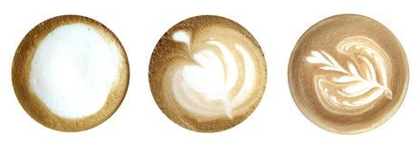 Cima del latte del caffè isolata su fondo bianco Immagini Stock