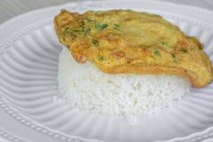 Cima dell'omelette su riso Immagine Stock