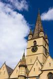 Cima della cattedrale del Evangelical di Sibiu Immagini Stock